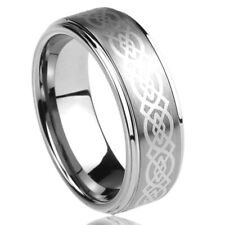 8MM Titanium Mens Womens Rings Celtic Knot Design Comfort Fit Wedding Bands