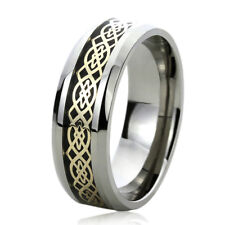 8MM Titanium Mens Womens Rings Gold Tone Celtic Knot Inlayed Wedding Bands