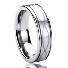 6MM Titanium Mens Womens Rings Infinity Patterned Comfort Fit Wedding Bands