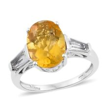 Canary Fluorite, White Topaz Platinum Over Sterling Silver 3 Stone Ring (Size 7.