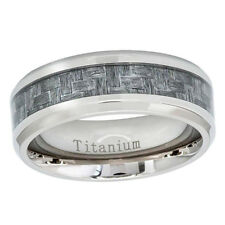 Titanium Wedding Band 8mm Charcoal Gray Carbon Fiber Inlay Promise Ring