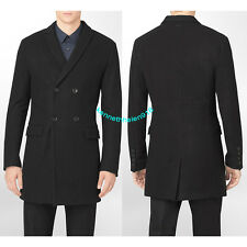 CALVIN KLEIN MENS BODY SLIM FIT DOUBLE BREASTED COAT JACKET BLACK SIZE MEDIUM