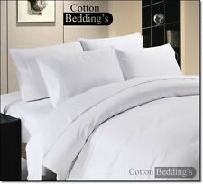 800 1000 1200 TC Egyptian Cotton US Size Fitted/Flat Sheet/Duvet Set White Solid