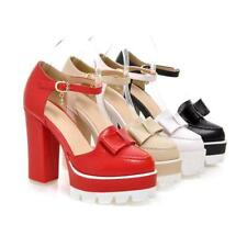New Womens Bowtie chunky Heels Platform Ankle Boots Strap Pumps Prom Party Shoes