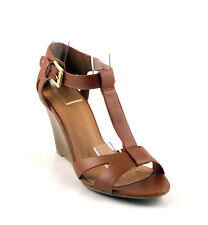 Tan Leatherette Awesome Cutie T Strap Closed Back Cut Out Wedge Heels Sandals