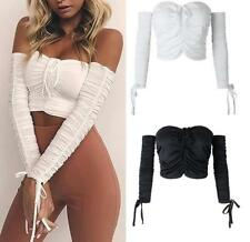Women Pleated Lace Up Wrapped Strapless Long Sleeve Skinny Solid Sexy Crop Top