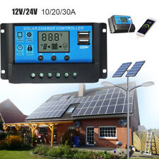 10A 20A 30A 12V/24V Solar Panel Charger Controller Battery Regulator USB LCD cc