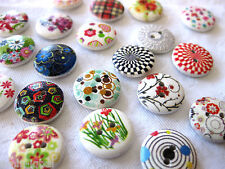 15 Wooden-Buttons, different Patterns,approx. 15 mm,Patterns selectable K47