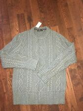 NWT Banana Republic Cable Knit Crew neck Thick Sweater Green Pullover Men's M L