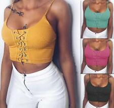 Women Cross Criss Low Cut Spaghetti Strap Tank Solid Sleeveless Knitted Crop Top