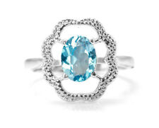 925 Sterling Silver Ring with Blue Topaz Natural Gemstone Oval Cut  Handmade
