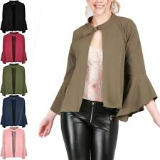Womens Ladies Frill Long Sleeve Blazer Open Front Buckle Outwear Jacket Cardigan
