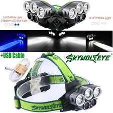 Military 5X T6 LED Headlamp USB Rechargeable 80000LM 18650 Headlight Flashlight