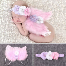 Newborn Baby Kids Girl Flower Feather Lace Headband &Angel Wings Photo Prop Pink