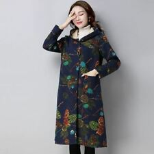 Women Cotton Fabric Floral Printed Pockets Decorated Winter Wear Coat