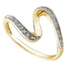 14kt Yellow Gold Womens Round Diamond S Curve Band Ring 1/20 Cttw