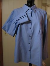 WOMANS BLUE COTTON BLOUSE SHIRT RED CONTRAST TRIM TALBOTS PETITE PLUS 22WP