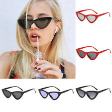 Womens Ladies Tiny Retro Cat Eye Retro Vintage Sunglasses Flat Lenses Eyewear