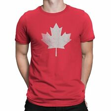 Nyc Factory Canada Flag Tee Mens Tee Maple Leaf T-Shirt Retro Red canada-mens-t