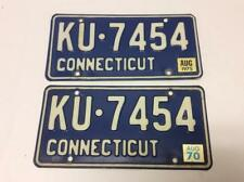 Matching Pair 1970's Connecticut Metal License Plates #KU-7454 w/ Stickers 1975
