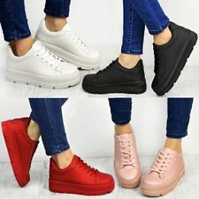 Black Flatform Wedge Trainers Womens Sports Shoes Sneakers Work Creepers Size