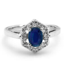 925 Sterling Silver Ring with  Oval Blue Sapphire Natural Gemstone Handmade