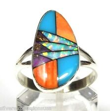 Multicolor, Turquoise, Spiny Oyster, Opal Inlay 925 Sterling Silver Ring 5 - 9.5