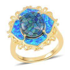 Australian Mosaic Opal, Simulated Blue Opal 14K YG Over Sterling Silver Ring (Si