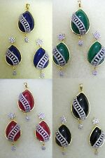 Indian Ethnic Fashion Jewelry CZ AD Pendant Set Designer Gold Silver Plated