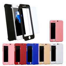 360° Hybrid Ultra Thin Case Cover +Tempered Glass Protector for Apple iPhone 7