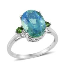 Peacock Quartz, Russian Diopside Platinum Over Sterling Silver Ring