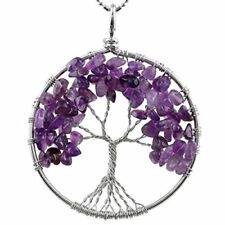 Tree of Life Tumbled Stone Pendant Necklace Wire Wrapped *All Colors/Variations*
