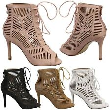 Anais Womens High Heels Stilettos Lace Up Peep Toe Ankle Boots Ladies Shoes Size