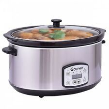 Stainless Steel Electric Slow Cooker 7-Quart Crock Pot Ceramic Programmable