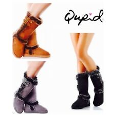 New Women's Faux Suede Buckle Mid Calf fur vegan winter Boots Booties shoes