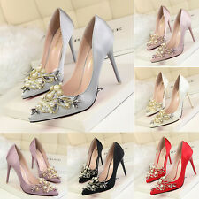 New Women Elegant High Heels Pearl Crystal Pointed Toe Shoes Satin Stiletto Pump