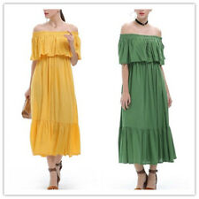 Women Flounce Hem Pleated Elastic Off Shoulder Loose Mid-Calf Solid Dress