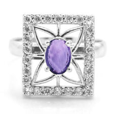 925 Sterling Silver Ring with Amethyst Natural Gemstone Ring Size 5,6,7,8,9,10