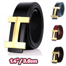 GGenuine Leather Thin Belts Fashion Womens Men H Logo Pattern For Jeans 1.40 NEW