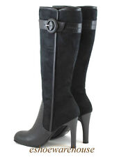 Black Faux Suede Awesome Sexy Oxford Riding Style High Heels Tall Knee Boots