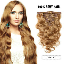 """Full Head Clip In Remy Real Human Hair Extensions Body Wave 70g 7pcs 16"""" #27"""