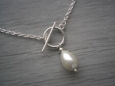 Choker Necklace Front Fastening Toggle Ivory Cream Teardrop Pearl