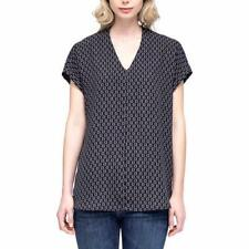 Pleione Womens Blouse Top Black Short Sleeve V-Neck Cap Sleeve Plus Sizes