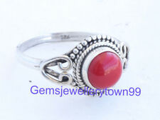 Red Coral Ring 925 Solid Sterling Silver Girl Women Stone Ring All Size R17CO