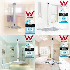 Rainfall 8'' Thin LED ABS Square Shower Head Rose 400mm Brass Ceiling Arm Set
