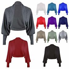 Ladies Plain Open Front Long Sleeve Batwing Shrug Womens Bolero Cropped Cardigan