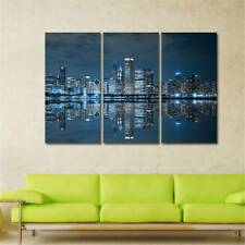 Huge Wall Art On Canvas Home Decor City Night View Oil Painting Frameless