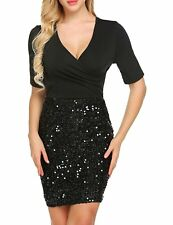 ANGVNS Women's Sexy Ruched Wrap Front Sequin Bodycon Stretchy Mini Party Dress