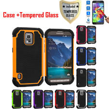 Hybrid Rugged Shockproof Hard Case + Tempered Glass for Samsung GALAXY S6 S4 S5
