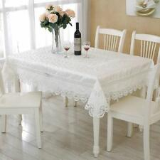 New Fashion Embroidery Lace Decorated White Color Rectangle Tablecloth